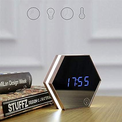Luz de mesa Reloj digital con alarma Temperatura Pantalla Espejo Termómetro Sensor táctil Lámpara de mesa