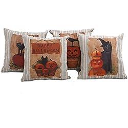 "Mega TPC Home Decor Cotton Linen Square 4Pcs Pillowcase Set of 4 Happy Halloween Pumpkin Throw Pillow Sham Cushion Cover 18"" x 18"""