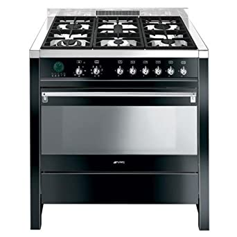 Smeg cs19 N6 cucine Cucina 90 cm, ACCIAIO Edelstahl/Nero Lucido ...
