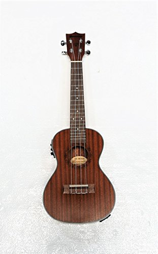 Concert 24'' Electric Ukulele Mahogany Body Inlay Flower On Fingerboard by Harmonia