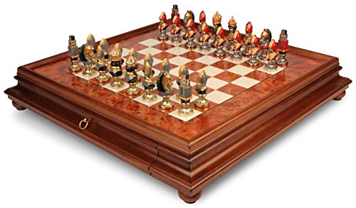 Medieval Theme Hand Painted Metal Chess Set with Elm Burl Chess ()
