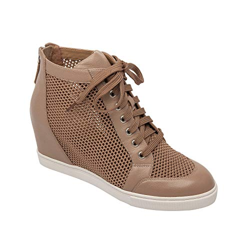 Linea Paolo FINIAN | Sporty Lace Up Perforated Leather Mesh Athleisure Sneaker Wedge Bootie Blush Knit/Leather 6.5M