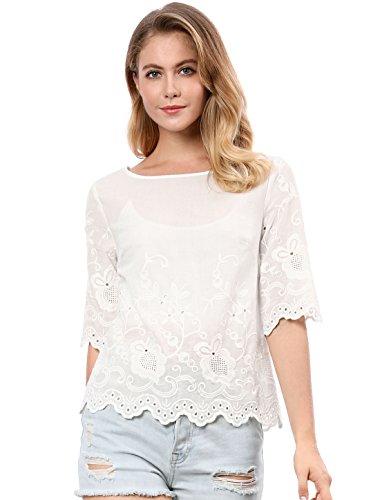 Allegra K Women's Elbow Sleeves Round Neck Embroidery Blouse White L (US 14)