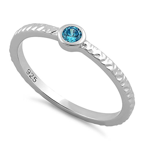 (Heartbeat Sterling Silver 9 Colors Round-Cut CZ Collection Stackable Family Birthstone Ring- (Size 3-11) (Sky Blue-MAR Birthstone, 6))