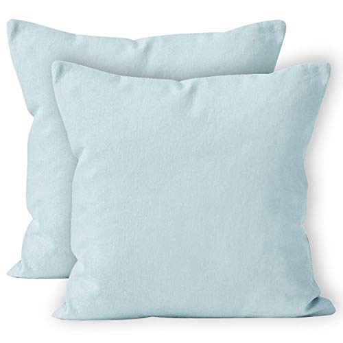 Encasa Homes Throw Cushion Cover 2pc Set - Ice Blue - 20 x 20 inch Solid Dyed Cotton Canvas Square Accent Decorative Pillow Case for Couch Sofa Chair Bed & Home