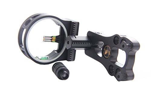 FlyArchery 5 Pin Bow Sight - Fiber, Brass Pin, Aluminum Machined - Right and Left Handed (Black) (Light Peep Sight)