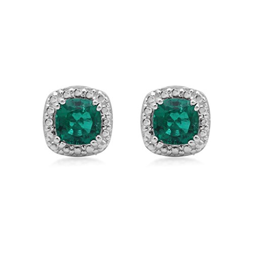 Jewelili-Sterling-Silver-6-X-6-Cushion-Created-Emerald-Stud-Earrings