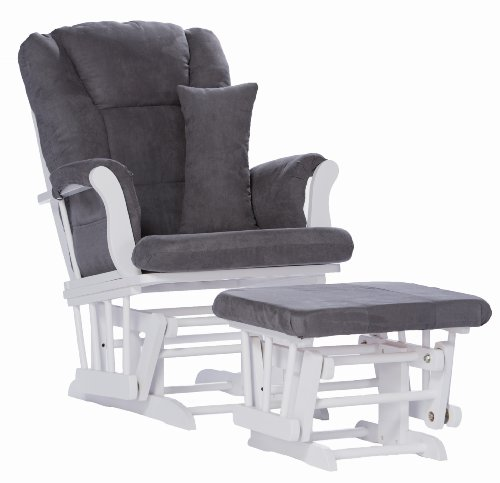 Custom Glider and Ottoman with Lumbar Pillow, White/Grey (Glide Ottoman)