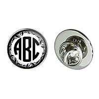 "Graphics and More Personalized Custom 3/4"" Metal Tie Tack Hat Lapel Pin Pinback - Monogram Circle Font Vine Outline"