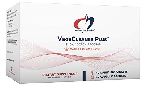 Designs for Health Vegetarian Cleanse Program - VegeCleanse Plus 21 Day Detox Program (42 Protein Powder + 42 Vitamin Packs)