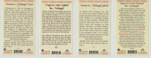Saint Michael, Gabriel, Raphael and Uriel Set of 4 Archangels Holy Cards with He Lives Cross Bookmark Photo #2