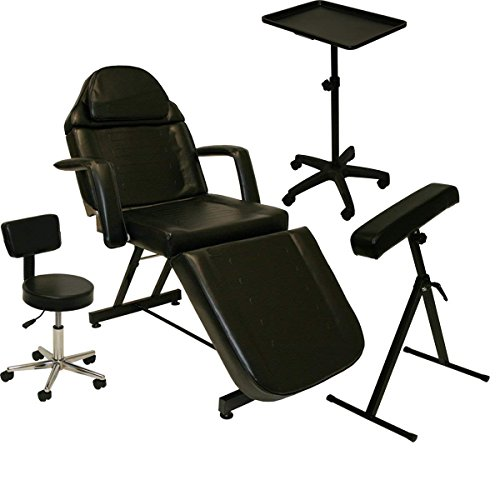 (InkBed Tattoo Bed Package: Tattoo Bed, Artist Chair, Mobile Work Tray & Arm Bar (Single)