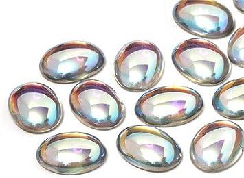 Star-Bright Cabochons | Cristal Nuggets | Piedras Preciosas | Oval, 13.0x18.0mm, Crystal-AB, 30 Piezas
