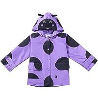 BELLE-LILI Kids Girls Dot Print Lightweight Raincoat Hooded Waterproof Rain Jacket Outwear (4-5 Years, Purple)