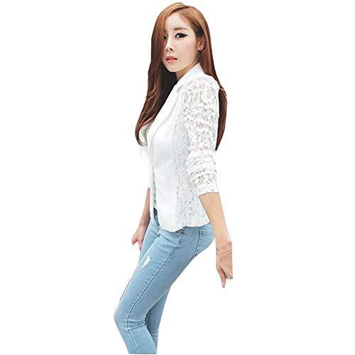 UONQD Women Coat Sexy Long Sleeve Lace Crochet Blazer Small Blazer Jacket (XX-Large,White)