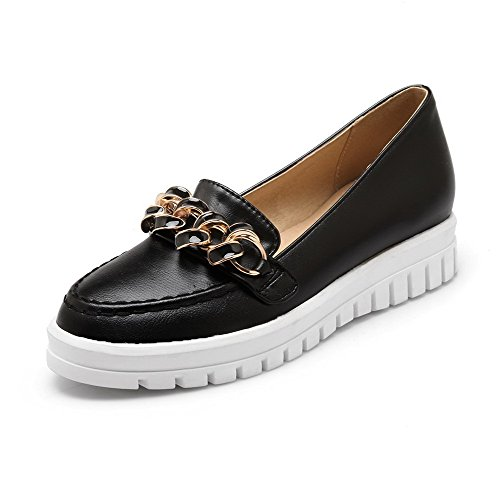 AllhqFashion Womens Pull on Kitten Heels PU Solid Round Closed Toe Pumps-Shoes Black vlebIr