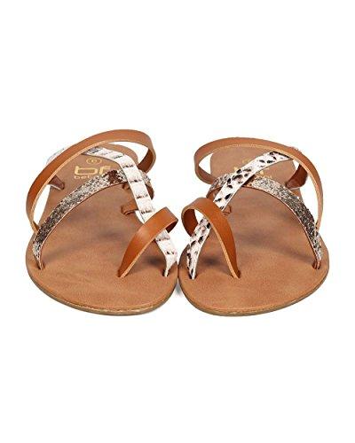 Betani Eh50 Donna Misti Media Tracolla Slip On Flat Sandalo - Cammello