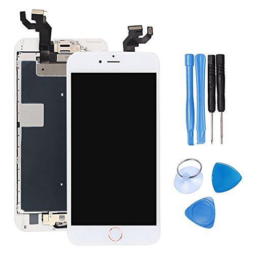 Ibaye LCD Display Touch Screen Digitizer Glass Lens with Camera and Home Button Assembly Repair Replacement for iPhone 6S Plus with Tools (5.5)inch White-Gold button