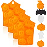 4 Pieces Halloween Silicone Baking Molds Chocolate Cookie Candy Ice Cube Molds with Pumpkin Bat Skull Ghost Shape for Kitchen DIY...