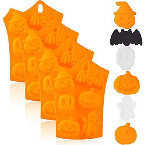 4 Pieces Halloween Silicone Baking Molds Chocolate Cookie Candy Ice Cube Molds with Pumpkin Bat Skull Ghost Shape for Kitchen DIY Baking Tools Supplies