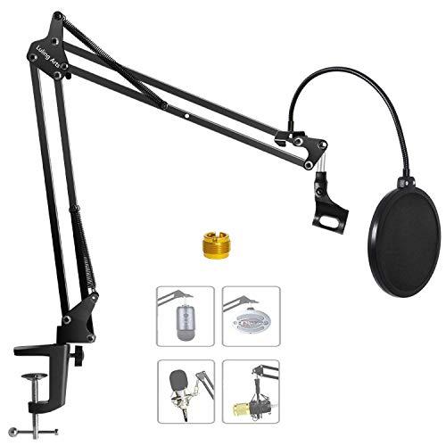 Luling Arts Desktop Microphone Stand with Mic Pop Filter Shock Mount, Adjustable Mic Boom Scissor Arm Stands, Condenser Microphones Holder Windscreen for Radio, Broadcast, Studio and Recording