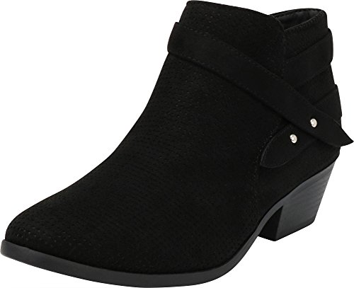 Cambridge Select Women's Closed Round Toe Western Perforated Crossover Strap Chunky Stacked Mid Heel Ankle Bootie (5.5 B(M) US, Black IMSU) ()
