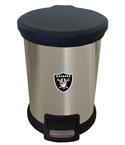 The Furniture Cove New 1.3 Gallon Round Stainless Steel Step Trash Can Waste Basket Featuring Your Choice of a Football Team Logo -
