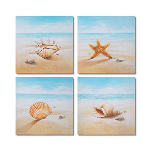 Gold Orange Starfish and Seashells on The Beach 4 PCS Oil Painting Beach Stone Sea Shells Sand Sunshine Wall Art Stretched Canvas Art Set Framed (16x16inch4pcs) (Best Selling Oil Paintings)
