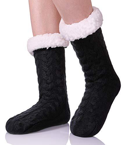 ZaYang Womens Super Soft Cable Knit Fuzzy Cozy Fleece lined Warm Non-Skid Winter Slipper Socks Black (Sock Fleece)