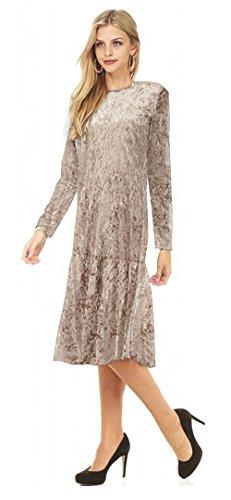Jersey Ruffle Sleeve Dress (Tabeez Women's Long Sleeve Below Knee Ruffle Hem Jersey Midi Dress (Large, Taupe))