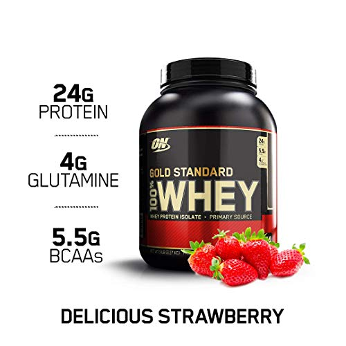 Optimum Nutrition Gold Standard 100% Whey Protein Powder, Delicious Strawberry, 5 Pound (Packaging May Vary) (Delicious Strawberry Protein)