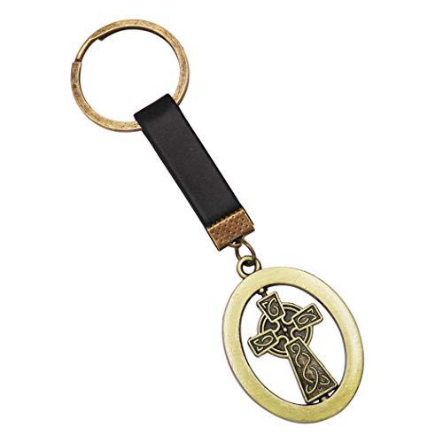 Rosemarie Collections Religious Irish Celtic Castledermot Cross Keychain (Black Burnished Gold)