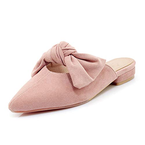 Embellished Mule - MAVIRS Loafers for Women, Womens Loafers Suede Backless Slip On Loafers Bow Embellished Mule Slippers