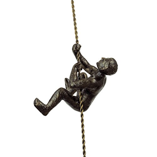 "Kira Home Titan 6"" Climbing Man Metal Wall Sculpture, Hand-Painted Charcoal Gold Finish"