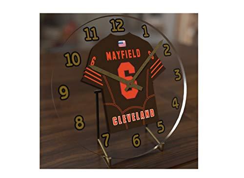 FanPlastic Baker Mayfield 6 Cleveland Browns Desktop Clock - National Football League Legends Edition !!