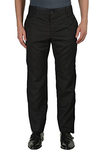 Dolce & Gabbbana Silk Wool Black Flat Front Men's Dress Pants US 38 IT 54