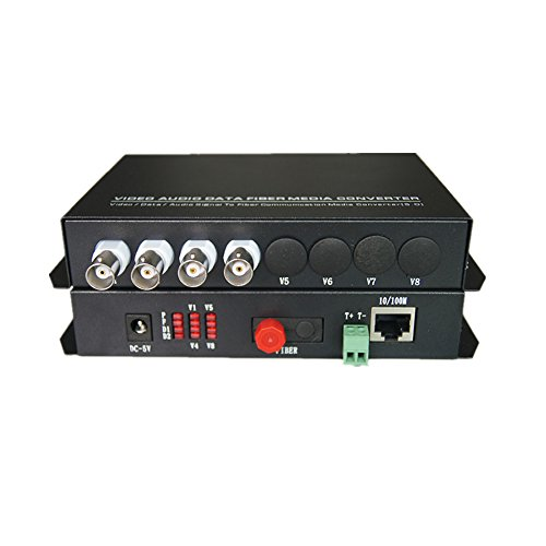 Optic Media Converters - 4 Channels Video Extender with 10/100Mbps Ethernet RJ45 and RS485 Data - Working Distance Up 20Km ()