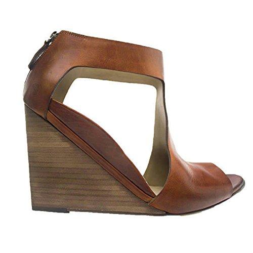 Marsell Designer Brunt Läder T-rem Kilklack W / Back Blixtlås