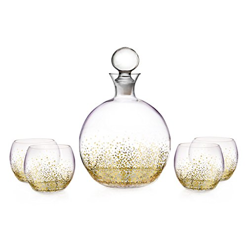 Fitz and Floyd Luster 5 Piece Decanter Set, Gold