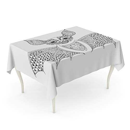 Semtomn Decorative Tablecloth Waterproof Printed Polyester Oil-Proof Zentangle Bat Totem for Adult Anti Stress Coloring Page Therapy Tribal Rectangle Table Cloth 52 x 70 Inch]()