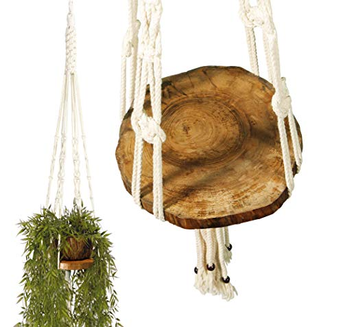 - Priene HOME | Macrame Plant Hangers Shelf Planters Boho Decor| Indoor and Outdoor with Wooden Plant Tray for Plants (Large - Diameter 13