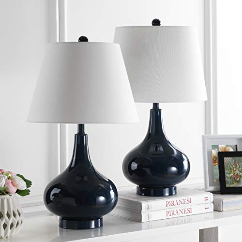 Safavieh Lighting Collection Amy Gourd Glass Table Lamp, Set of 2, Navy (Lamps Navy)