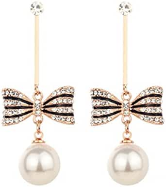 Hanie Simulated Pearl Drop Earrings Bowknot Gold Tone Dangle White crystal with Simulated Pearl