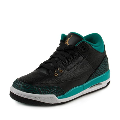 - NIKE Youth Air Jordan 3 Retro GG 441140 018 Black/Teal (8 M US Big Kid)