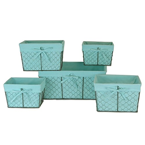 Home Traditions Vintage Metal Chicken Wire Storage Basket With Removable Fabric Liner  Set Of 5 Mixed Nesting Sizes  Aqua