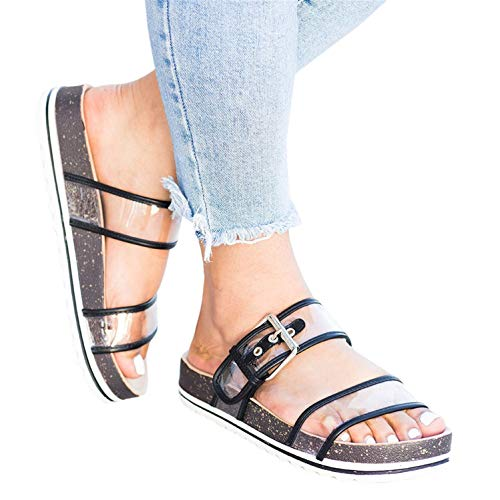 Syktkmx Womens Clear Double Strap Slides Slip on Flat Platform Buckled Cork Sandals Black