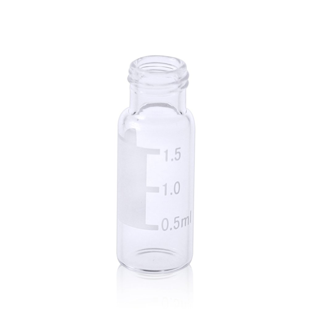 ALWSCI HPLC LC GC 1.5 ml Wide Opening Short Screw-Thread Vial with Write-on Spot, Clear, 12x32mm, 8-425 Top Type, 100 pcs/pk