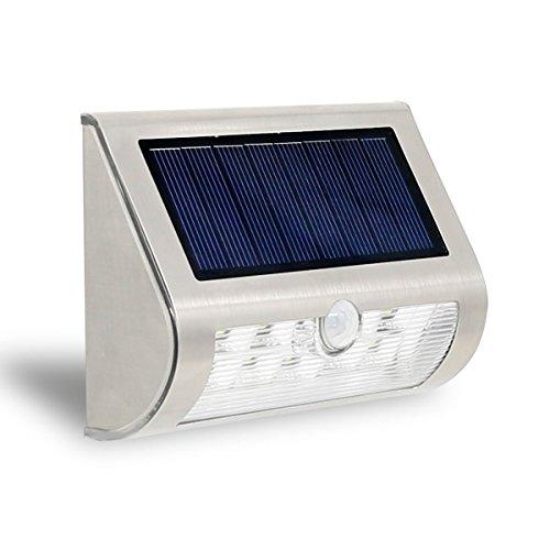 Solar Power Outdoor LED Wall Fence Lamp for Garden Deck White Light - 6