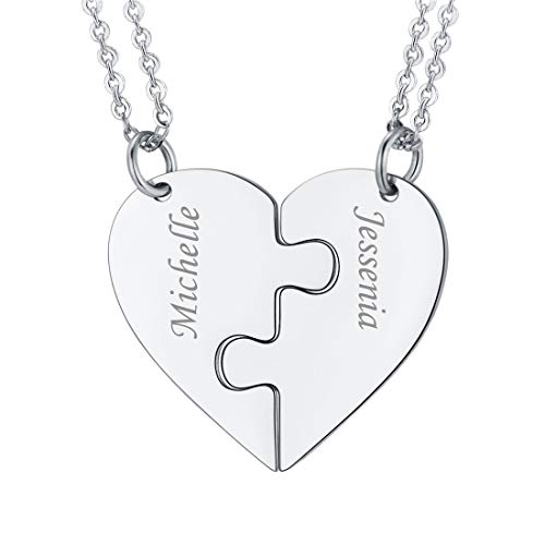 U7 BFF Necklace for 2/3/4 Stainless Steel Chain Personalized Family Love/Friendship Jewelry Set Personalized Engraving Heart Pendants (Set of 2 Stainless Customized)