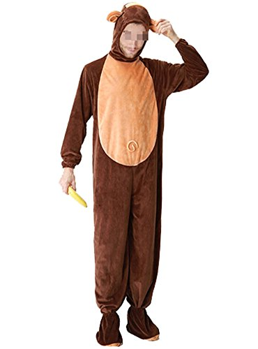 Adult Unisex Pajamas Monkey Costume Halloween Cosplay Jumpsuit with Hood (Mens Monkey Costume)